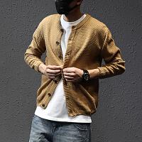秋季新款男式开衫毛衣休闲外穿时尚羊毛衫圆领外套韩版修身针织衫