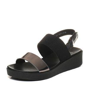 Teenmix/天美意夏专柜同款牛皮/山羊皮时尚撞色舒适平跟女凉鞋6Z920BL7