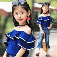 女童打底衫夏装新款韩版女宝宝短袖T恤儿童吊带衫上衣潮
