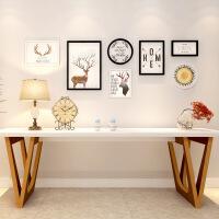 简约现代客厅组合创意装饰画个性挂墙黑白墙画北欧风格麋鹿挂画 250*91
