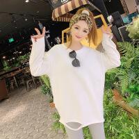 №【2019新款】年轻人穿的2018秋冬新款韩版白色长袖T恤破洞加绒打底衫宽松中长款上衣女潮 均码