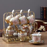 欧式陶瓷摆件客厅电视柜酒柜创意家居装饰品茶几摆设结婚礼物 A款16件套玫瑰金花茶具摆件