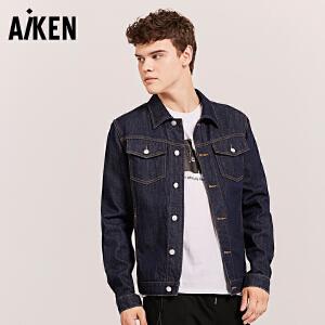 Aiken牛仔夹克男士2017秋装新款美式牛仔外套男休闲个性上衣学生