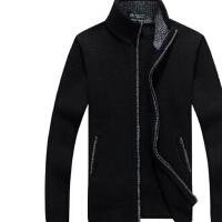 秋冬季男士针织衫青年羊毛衫宽松大码加绒加厚保暖半高领开衫