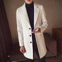 秋冬季毛呢子大衣男中长款风衣男士加厚修身帅气潮流妮子外套披风