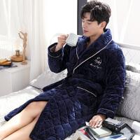 男士冬季珊瑚绒睡袍三层夹棉长袖睡衣冬天加厚加绒春秋长款浴袍