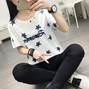 2018夏季新款宽松显瘦上衣女短袖圆领套头字母刺绣T恤女衫