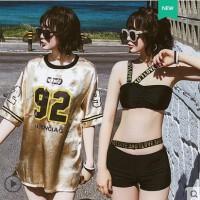 运动泳衣女三件套分体比基尼个性罩衫韩国温泉小香风显瘦遮肚性感