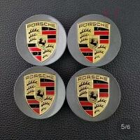 保时捷轮毂盖 卡宴轮毂盖 911 Panamera macan 迈凯彩标轮毂盖改装 保时捷轮毂盖灰色 (四个装)