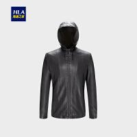 HLA/海澜之家连帽PU皮夹克2018秋季新品时尚柔软舒适男士外套