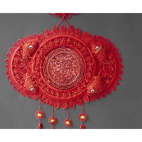 中国结福字大号桃木五福连年有余客厅玄关背景墙挂件壁挂