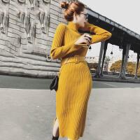 茉蒂菲莉 针织衫 女士半高领开叉一步打底裙秋冬新款韩版时尚女式修身过膝中长款包臀裙修身百搭针织连衣裙