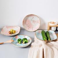陶瓷盘子日式早餐盘圆盘西餐盘创意家用餐具方形菜碟子深盘菜盘碟