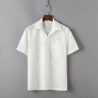 中老年唐装男士短袖夏季翻领亚麻衬衫中年爸爸装老人老头棉麻衬衣