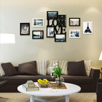 地中海创意相框钟表客厅挂钟现代简约静音石英钟挂表 20英寸(直径50.5厘米)