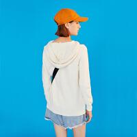 【春节不打烊,秒杀价:81.3元】初语白色毛衣女2019春装新款抽绳连帽设计感宽松基础套头针织衫