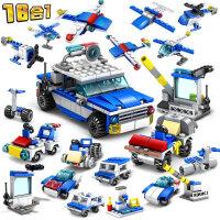 开智16合1城市警察警卫队拼装积木儿童益智塑料男孩玩具67251
