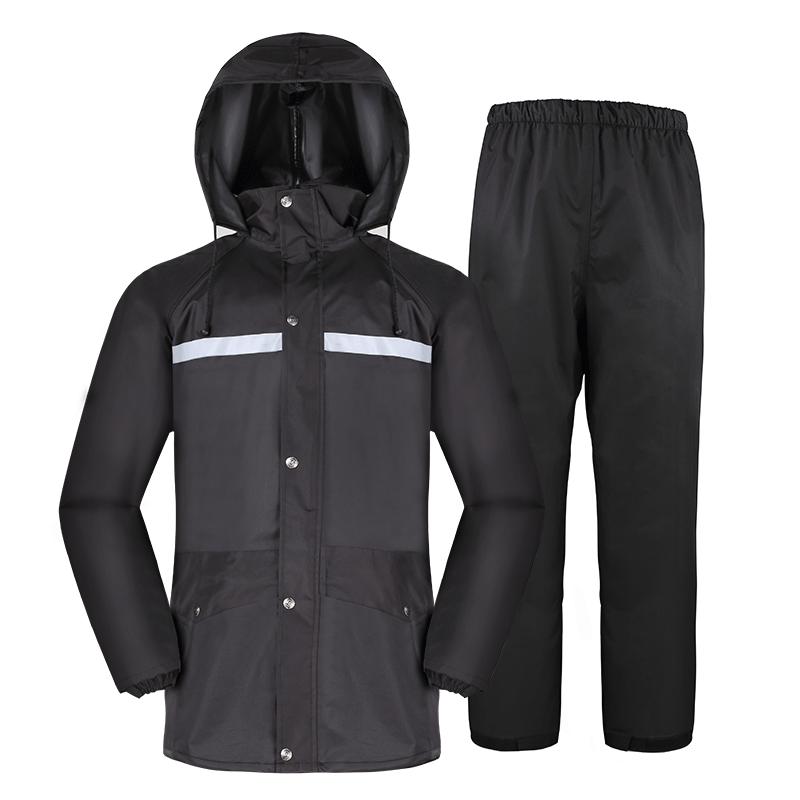 家居生活用品雨衣雨裤套装分体徒步男女时尚电瓶车摩托车外卖骑行雨衣 黑色