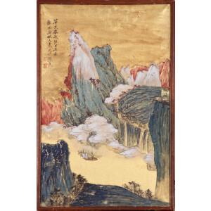 张大千款 (日式老镜框)《巫峡清秋》