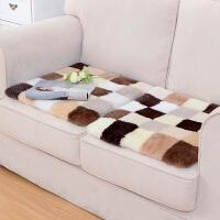 加厚羊毛坐垫椅垫羊毛沙发垫飘窗垫定做定制办公休闲椅子垫 25A【多色方块组合坐垫】 50X50cm
