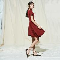 红色连衣裙V领春款新款2018女装收腰不对称轻熟女气质款夏A字裙子 酒红色