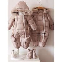男女宝宝新生儿婴幼儿连体羽绒服外出服爬服双开加厚冬外 浅棕色