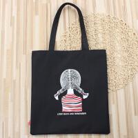 韩版帆布包学生补习袋简约托特包百搭手提单肩包女包书包文艺大包