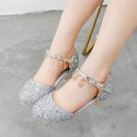 春秋女童皮鞋小公主水晶鞋儿童高跟鞋包头凉鞋夏季演出鞋子中大童