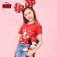 【99元3件】迪士尼米奇米妮童装女童夏装2020春夏新品短袖印花T恤红色米妮