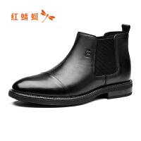 红蜻蜓商务正装皮鞋新款冬季男单鞋高帮鞋布洛克男单靴断码清仓