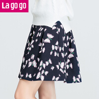 Lagogo2017秋冬新款下装甜美蝴蝶结印花半身裙女百搭拉链短款裙子