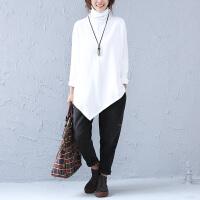 春秋季新款大码厚不规则T恤中长款高领纯色女士长袖打底衫纯棉潮 大码均码