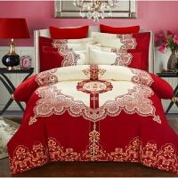棉婚庆磨毛四件套棉加厚结婚床上用品床单被套春秋 王朝 红