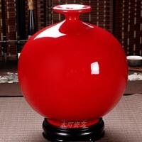 德化富贵红陶瓷摆件花瓶中国红天地方圆纯红瓶牡丹花瓶家居