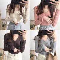 2017冬季新款女装奶茶色超弹力V领修身毛衣显瘦打底衫针织衫上衣
