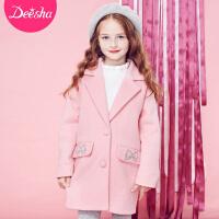 笛莎女童大衣中长款2018冬季新款儿童冬装中大童毛呢外套