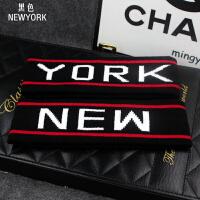 韩版发饰潮吸汗运动头带发箍潮男女瑜伽头套潮流头带头巾发带品 NEW YORK-黑色