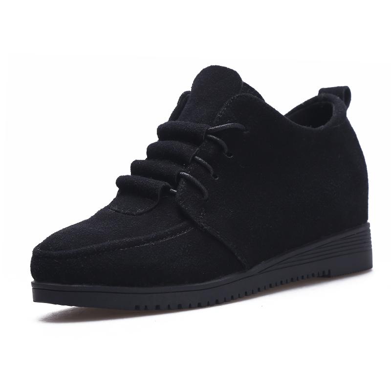 女鞋子2018新款秋冬韩版百搭单鞋女学生休闲工作中跟内增高小皮鞋 黑色 CX-8