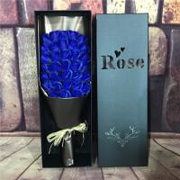 33朵51朵玫瑰香皂花束礼盒创意七夕情人节礼品送女友生日礼物 咖啡色 33朵稻草蓝