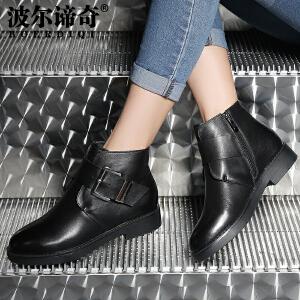 波尔谛奇2016冬季新款牛皮短靴女皮带扣圆头裸靴低跟及踝靴56008
