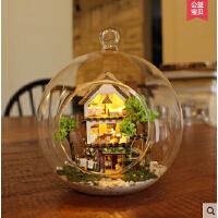 智趣屋 手工diy小屋 浪漫迷你爱琴海岛屿森林梦房子模型拼装玻璃屋