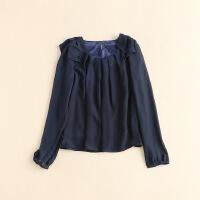 女春款雪纺衫 长袖圆领套头荷叶边日系衬衫上衣 9