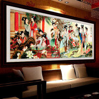 精准印花十字绣大幅客厅装饰画琴棋书画楼十二金钗