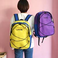 韩版经典复古纯色简约百搭运动潮字母双肩包学生男女书包情侣背包