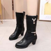 冬季新款女靴子中筒妈妈靴粗跟中跟防滑底侧拉链加绒加棉保暧女靴 黑色 标准码