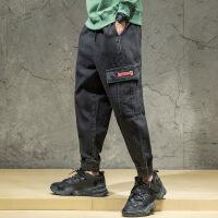 日系街头宽松牛仔裤休闲大码水洗束脚哈伦裤个性多口袋工装裤潮 黑色