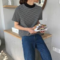 春装2018新款韩版百搭半高领撞色条纹针织短袖t恤女宽松显瘦上衣