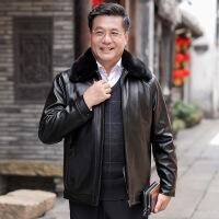 中老年男士皮衣爸爸装冬季外套加绒加厚款中年40-50岁皮夹克冬装