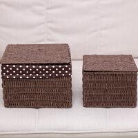 藤编草编织收纳筐带盖桌面布艺小号方形零食整理箱面膜储物盒