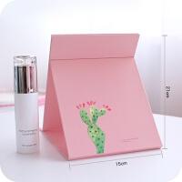 韩国台式公主化妆镜大号折叠镜子便携卡通宿舍纸镜随身梳妆镜 鲜粉红 大号-仙人掌粉色